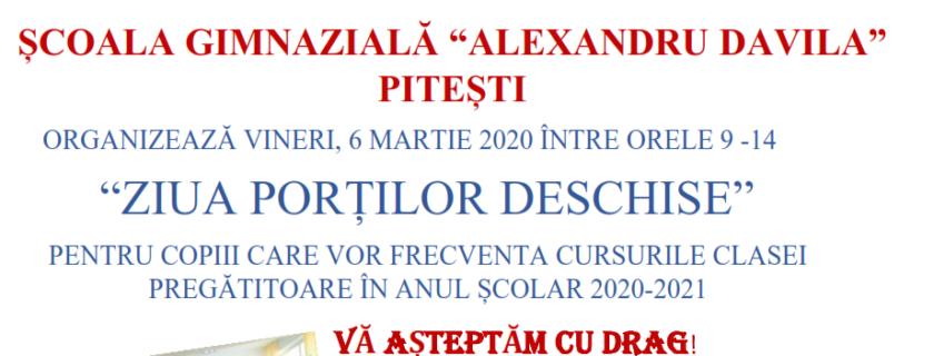 ZIUA PORTILOR DESCHISE – VINERI 6 MARTIE 2020